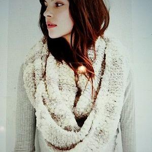 Gray/Cream knit infinity scarf